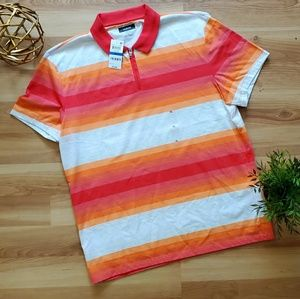 ALFANI Stretch Bonfire red striped polo shirt